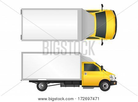 Yellow Truck Template. Cargo Van Vector Illustration Eps 10 Isolated On White Background. City Comme