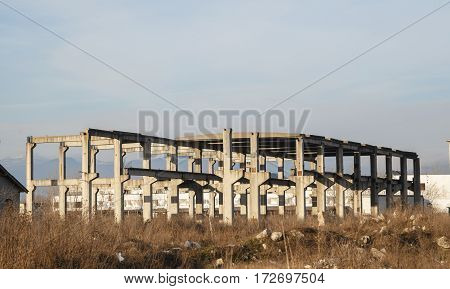 Old abandoned industrial building ( industrial complex ) in Romania