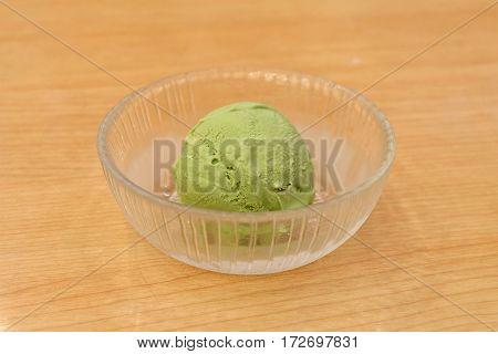 one scoop of green tea ice cream