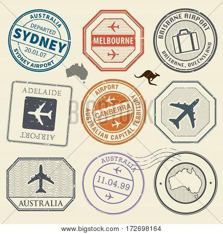 Travel stamps or adventure symbols set Australia airport theme vector illustration
