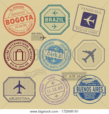 Travel stamps or symbols set South America airport theme vector illustration