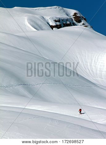 Lonely skier doing a ski tour in the bavarian alps