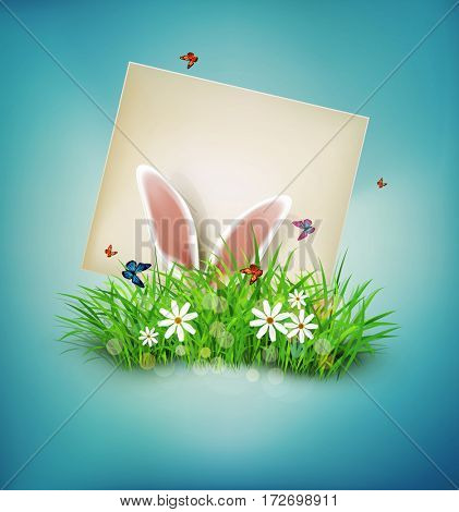 vintage, realistic background for Easter. Template. Rabbit ears sticking out of the grass and the card with place for congratulations.