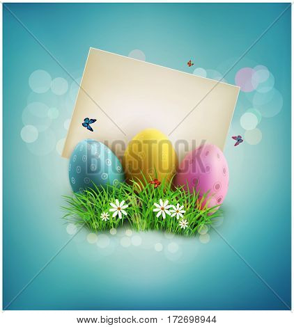 vintage element for design. Easter eggs in green grass with white flowers, butterflies, vintage card for congratulation on a blue background