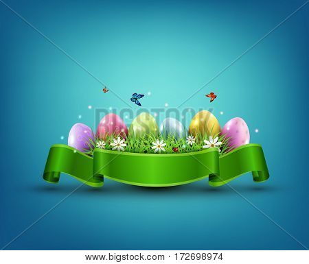 Easter eggs with grass and flowers in green ribbon isolated on a blue background. Element for celebratory design.