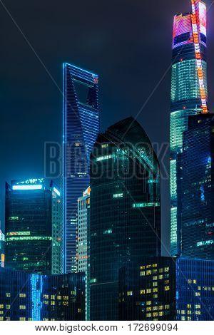 illuminated high-rise buildings in modern city,Shanghai,China .