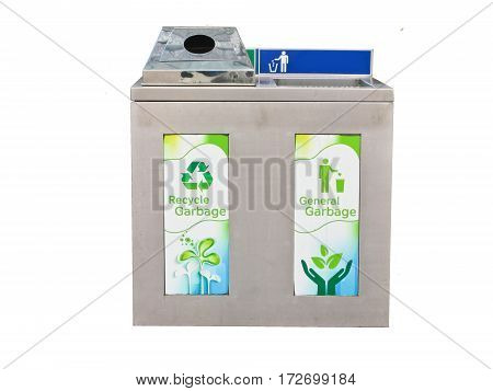 Two waste stainless steel bins in one for recycle sorting isolate on white background