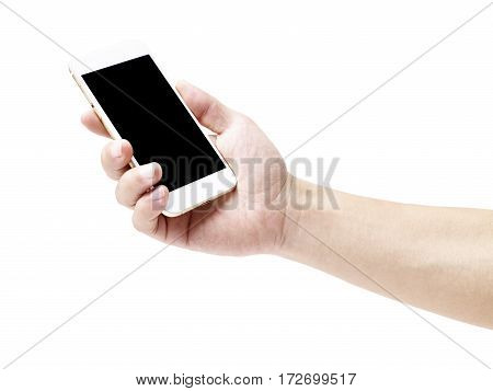 hand of a male holding a mobile phone with black blank screen isolated on white background.