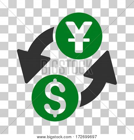Dollar Yuan Exchange icon. Vector illustration style is flat iconic bicolor symbol green and gray colors transparent background. Designed for web and software interfaces.