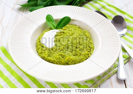 Green Pease Puree Pudding With Spinach And Spices