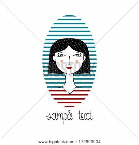 Vector portrait of fashion girl with haircut