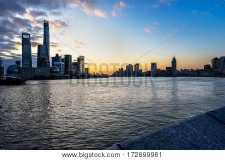 panoramic scene of huangpu river and buildings,shanghai,china.