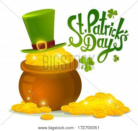 Vector Illustration Of St. Patrick's Day Greeting With Big Pot Of Gold And Green Hat On White Backgr