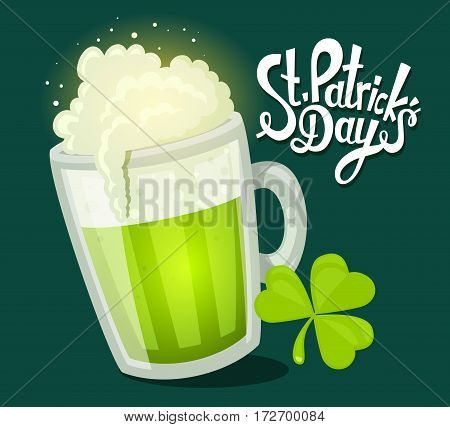 Vector Illustration Of St. Patrick's Day Greeting With Big Mug Of Beer With Clover On Dark Green Bac