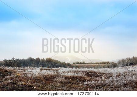 High snowy mountain peak. Natural landscape background