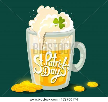 Vector Illustration Of St. Patrick's Day Greeting With Big Mug Of Yellow Beer With Clover And Coins
