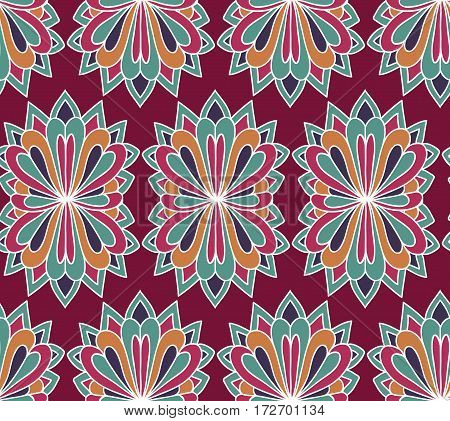 Floral vector seamless pattern. Ethnic endless background