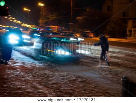 Dangerous Situation On Zebra Crossing At Night.