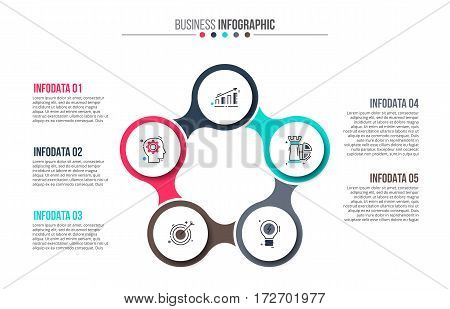 Business data visualization. Abstract flat elements of cycle diagram with 5 steps, options, parts or processes. Vector business template for presentation. Creative concept for infographic.