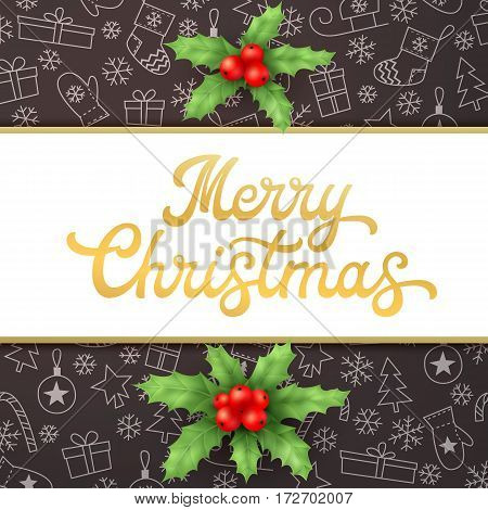 Merry Christmas. Square Xmas card with gold lettering inscription and holly on black background with sleighs, trees, balls, gifts. Font vector illustration.