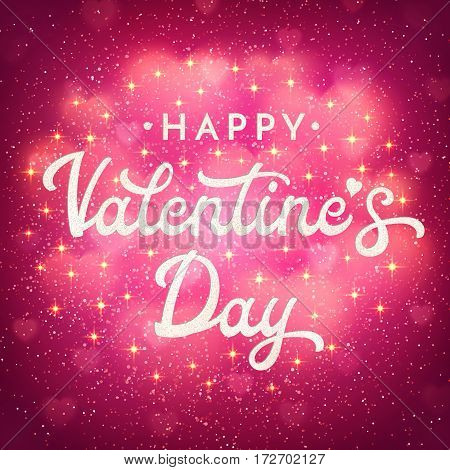 Valentines Day greeting card or banner with shiny bokeh blurred hearts, glittering confetti and sparkles. Romantic poster with hand lettering text on pink glitter background. Font vector illustration.
