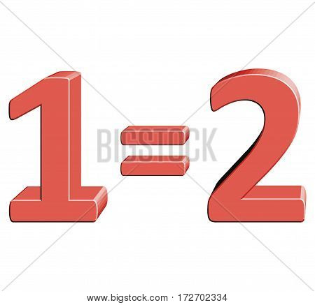 1=2 Vector illustration with 3D effect Percentage rate icon on a white background Special offer two for the price of one Discount Tag Special Offer Label Sale Symbol