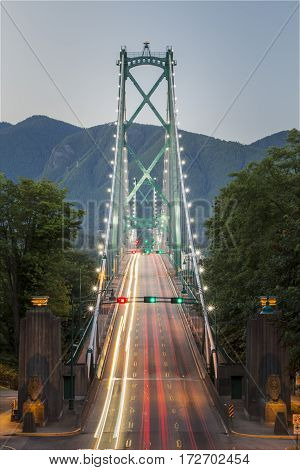 Image of Lions Gate Bridge, a large suspension bridge that spans the Burrard Inlet and links Vancouver to North Vancouver