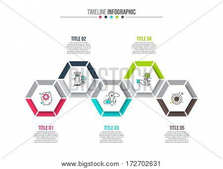 Vector hexagons elements for infographic. Template for diagram, graph, presentation and chart. Business concept with 5 options, parts, steps or processes. Stroke icons.
