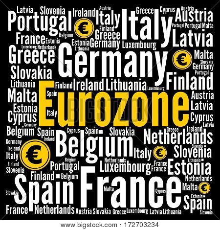 Eurozone word cloud concept with a black background