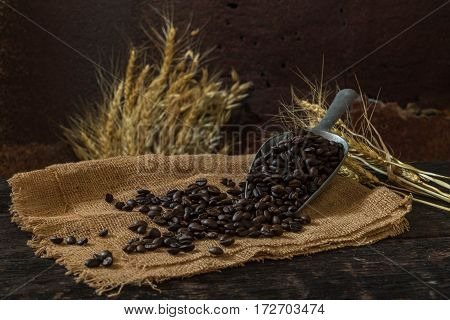 Roasted coffee bean purifying from spoon in still life style