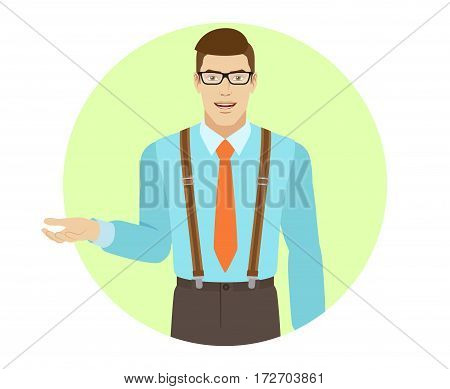 Businessman gesturing. A man wearing a tie and suspenders. Portrait of businessman in a flat style. Vector illustration.