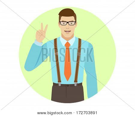 Victory! Smiling businessman showing victory sign. A man wearing a tie and suspenders. Portrait of businessman in a flat style. Vector illustration.