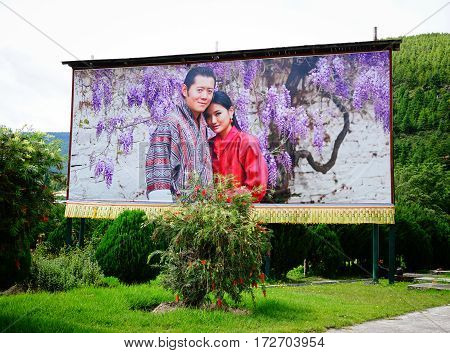 Large Portrait Of Bhutan King In Thimphu