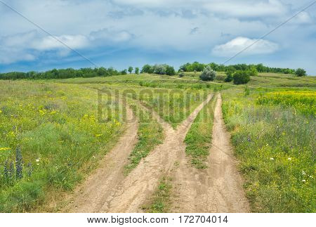 Country roads in Ukrainian steppe before rain storm.