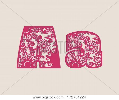 Decorative alphabet vector font. Letter A. Typography for headlines, posters, logos etc. Uppercase and lowercase symbols