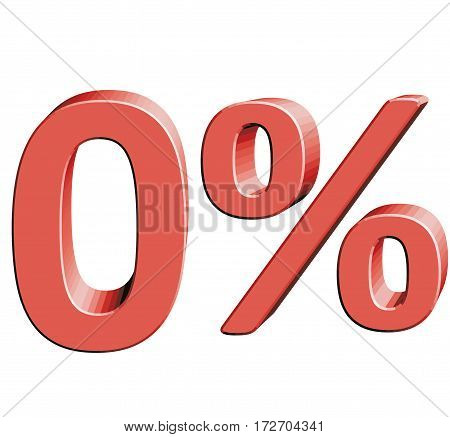 0% Vector illustration with 3D effect Percentage rate icon on a white background Zero percent Discount Tag Special Offer Label Sale Symbol Credit Rate