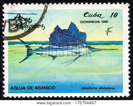 UKRAINE - CIRCA 2017: A stamp printed in Cuba shows the a fish Fan needle Istiophorus platypterus the series Pelagic Fish circa 1981