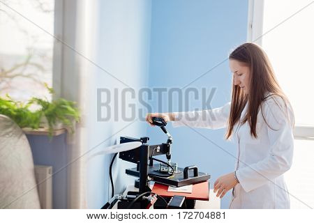 Woman In White Lab Thermal Transferring Image