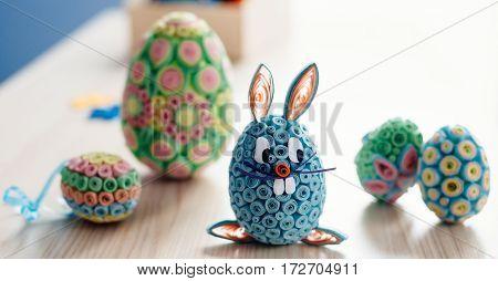 Blue Homemade Easter Bunny.