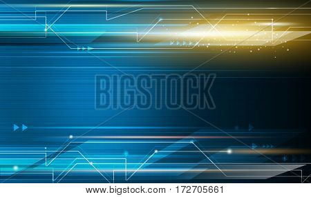 Vector Abstract, science, futuristic, energy, technology concept. Digital image of arrow sign, light rays, stripes lines with blue light. Speed movement pattern and motion blur over dark blue background