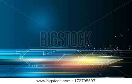 Vector Abstract science, futuristic, energy technology concept. Digital image of arrow sign, light rays, stripes lines with blue light. Speed movement pattern and motion blur over dark blue background