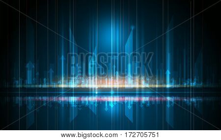 Vector Abstract science, futuristic, energy technology and cityscape concept. Digital image of arrow sign, light rays, stripes lines with blue light. Speed movement pattern and motion blur over dark blue background