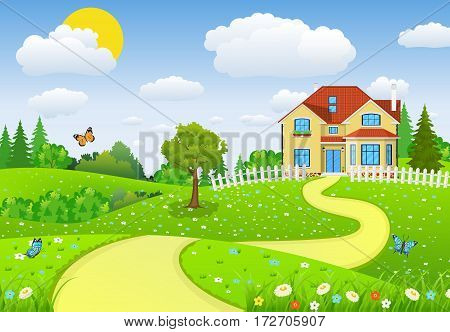 Rural landscape with fields and hillswith fields and hills. Summer landscape with houses. vector illustration