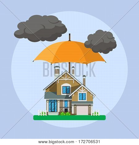 Home insurance concept. umbrella over house. Insurance business. Vector illustration in flat design.