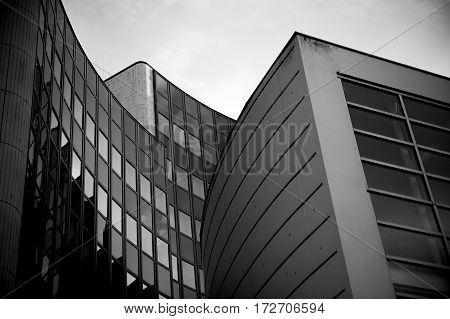 Detail of modern architecture - office building in black and white