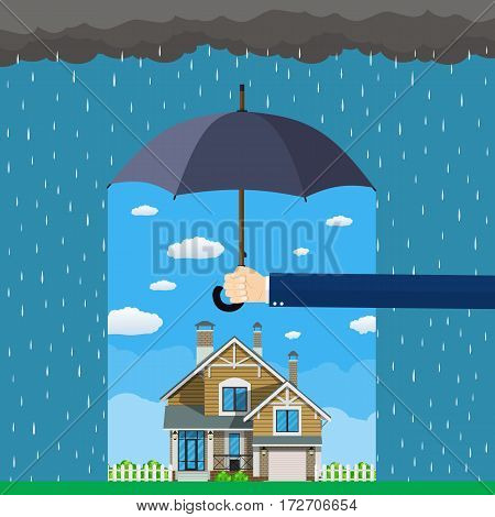 Home insurance concept. Hands hold umbrella over house and protecting house from danger. Insurance business. Vector illustration in flat design.