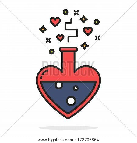 Alchemy of love, blue potion in heart shaped tube