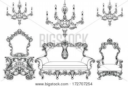 Exquisite Fabulous Imperial Baroque furniture and chandelier set engraved. Vector French Luxury rich intricate ornamented structure. Victorian Royal Style decoration