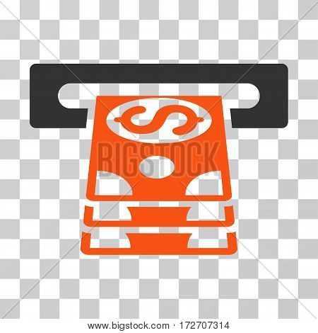 Bank Cashpoint icon. Vector illustration style is flat iconic bicolor symbol orange and gray colors transparent background. Designed for web and software interfaces.