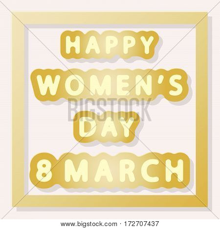 gold vector lettering of happy women's day 8 march